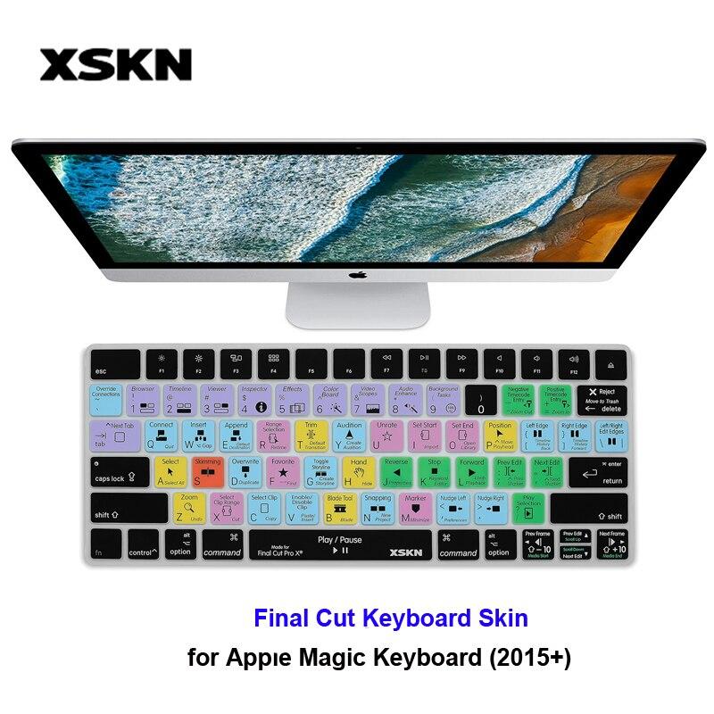 XSKN pour Apple Final Cut Pro X Photoshop PS CC Clavier Peau pour iMac Clavier Magique Anglais Raccourci Raccourci Silicone smart Skin