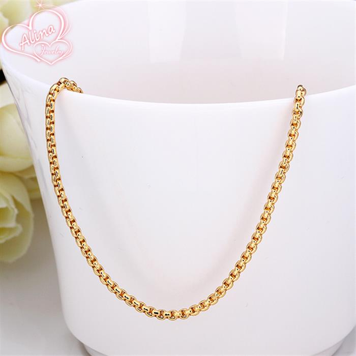 Classic 18K yellow Gold Plated chains women round nugget box chain ...
