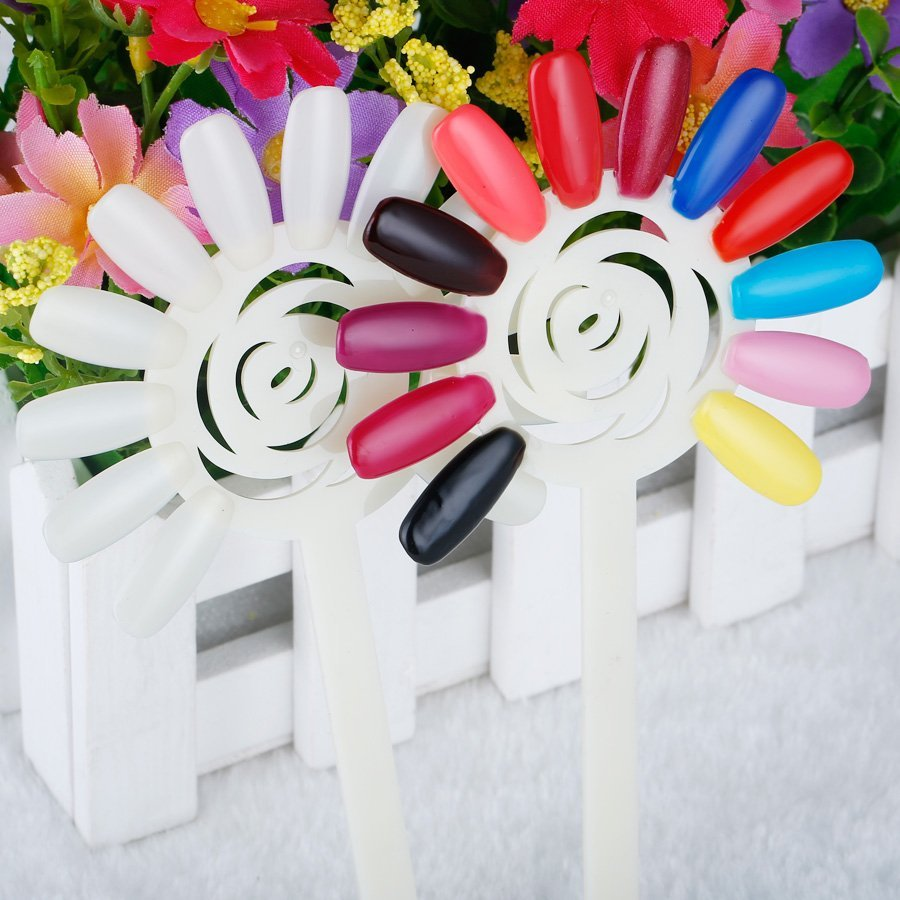 BlinkingNails Colorful Sun Flower Fan shaped Nail Display Fake Nails ...