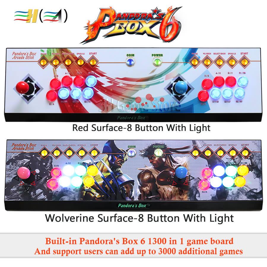 Pandora's Box 6 8 knop arcade console 1300 in 1 kan toevoegen 3000 games 2 spelers HDMI VGA usb joystick voor pc video game ps3 TV - 6