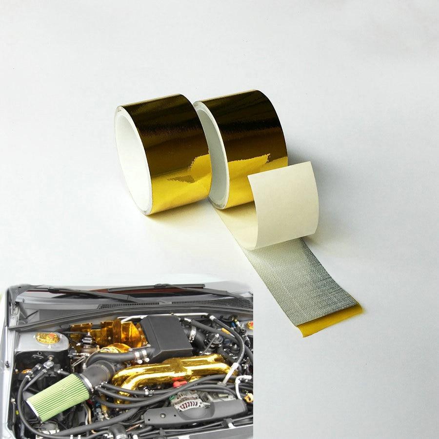 2''x15 'Ruban d'or Protection thermique réfléchissante haute performance Refléter un bouclier thermique à bande fraîche pour moteur de bande