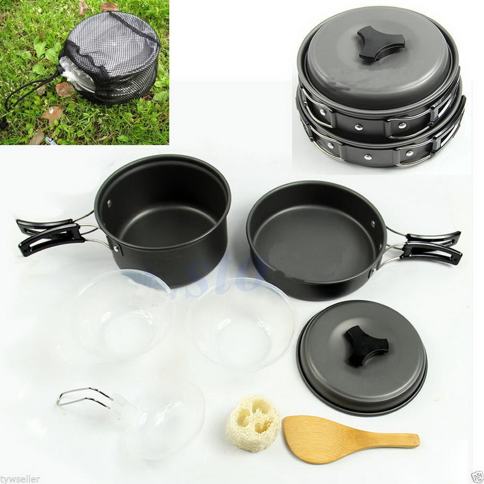 Onfine new arrivel 8pcs Outdoor Camping Hiking Cookware Backpacking Cooking Picnic Bowl Pot Pan Set Support Wholesale thicken 4 pcs stainless steel hanging pot set outdoor hiking traveling kit picnic skillet flambe campfire cookware bonfire party