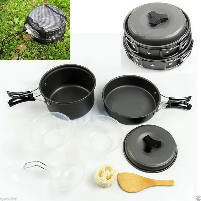 Onfine new arrivel 8pcs Outdoor Camping Hiking Cookware Backpacking Cooking Picnic Bowl Pot Pan Set Support Wholesale