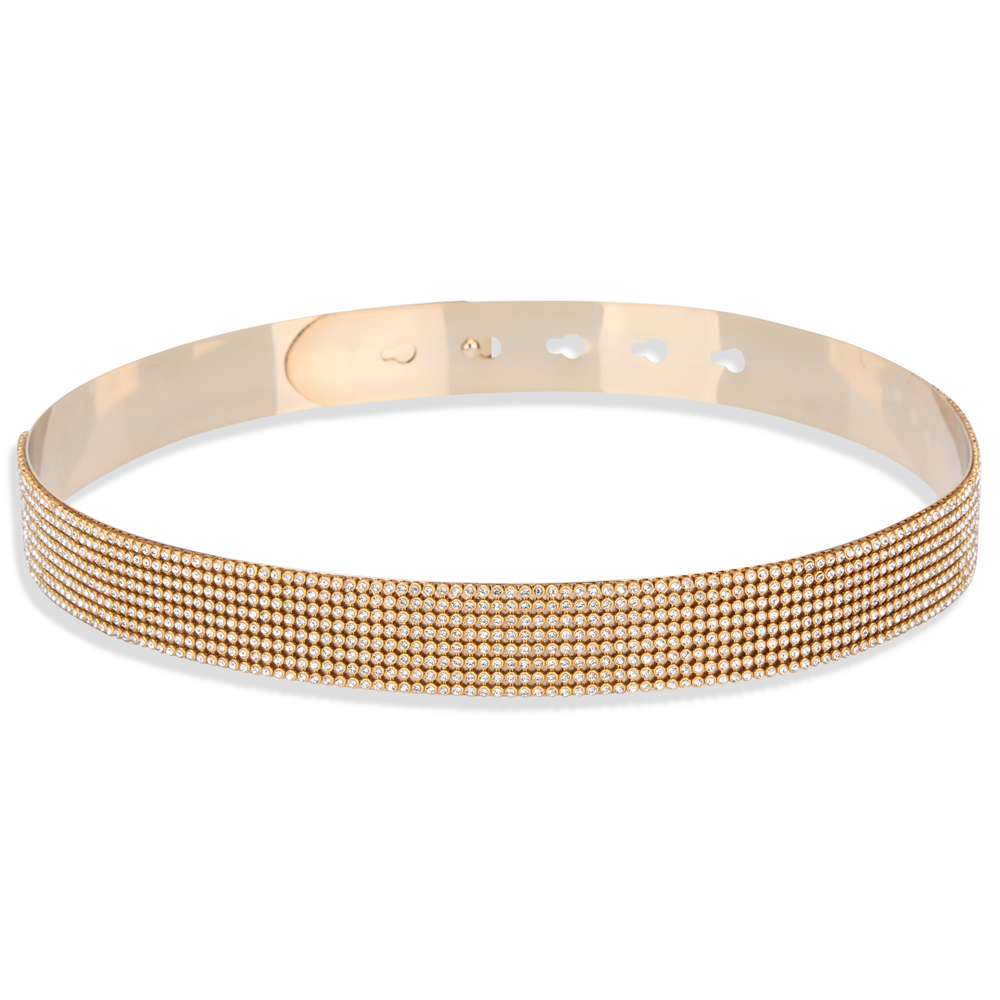 LIAOMIUFU Women   Belt   Europe&America Gold Silver Metal Mirror With Diamond Face   Belts   For Women Fashion Apparel Accessories