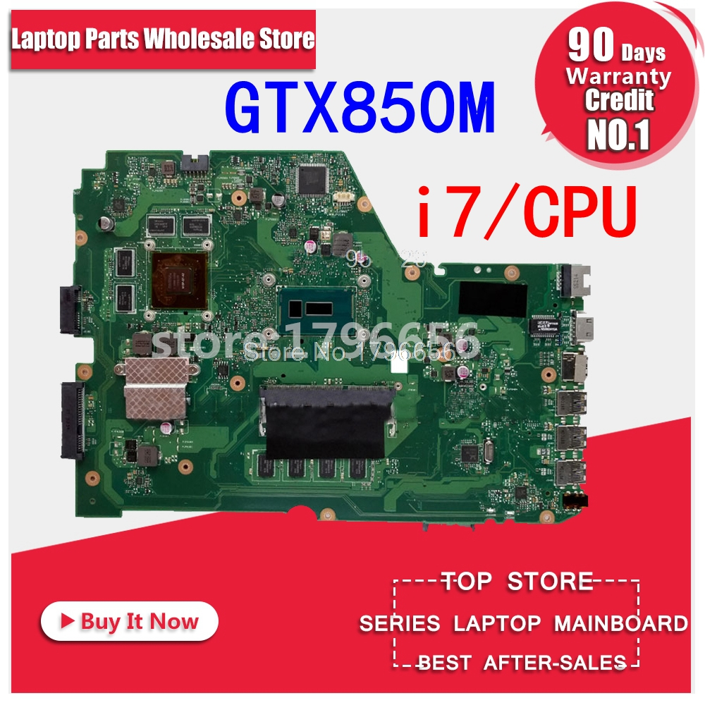 GTX850M i7 cpu 4 gb/RAM X751LK carte mère REV 2.0 Pour Asus X751L K751L X751LK X751LX mère d'ordinateur portable X751LK carte mère 100% OK