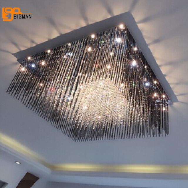 Hot sales new square LED chandelier light L60*W60*h35cm lustres de cristal lamp modern home lights