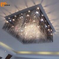 New Design Black Crystal Chandelier Lighting Fixtures L80 W80 H35cm Modern Home Lighting LED Crystal Light
