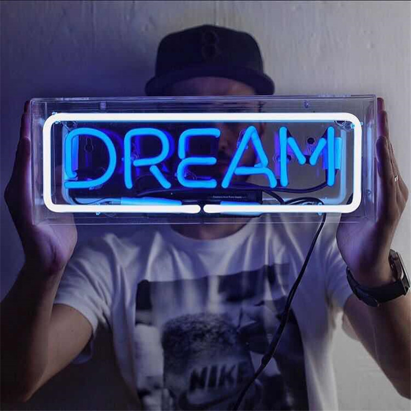 INS Hot YEAH Dream Real Glass Tube Neon Tube Light Sign Tavern Beer Bar Pub Decoration Neon Bulb Lamp Board Commercial Lighting