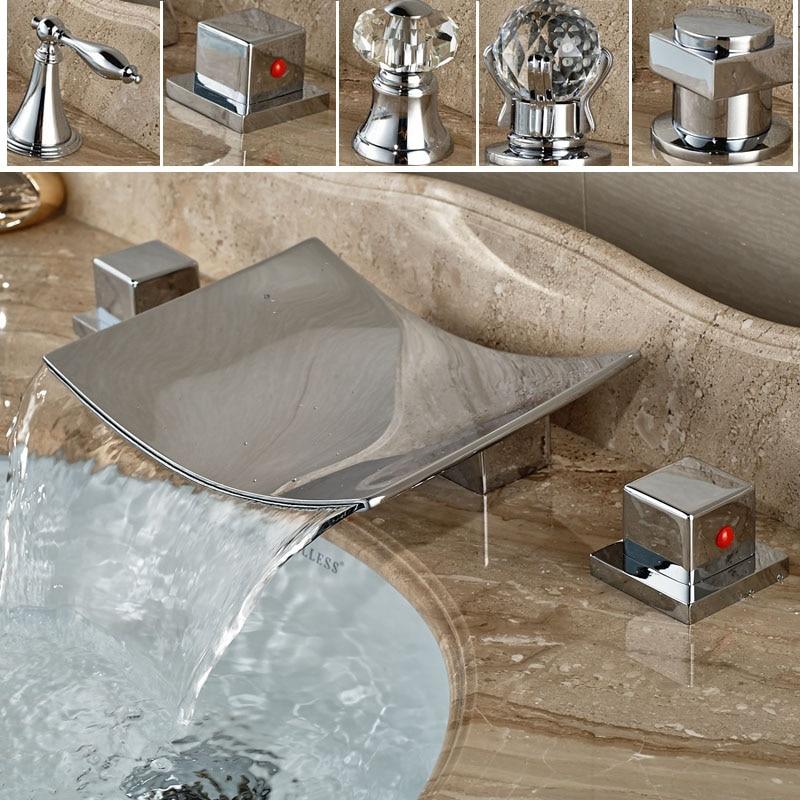 ФОТО Chrome Deck mount 3 Holes Waterfall Spout Basin Faucet Dual Handle Bathroom Tub Sink Mixer Taps