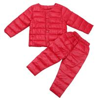 2pcs Winter Warm Children Parkas Pants Girls Boys Clothing Sets Clothing Set Down Cotton Jacket Pants