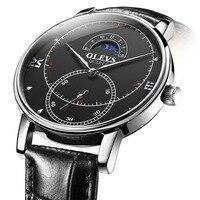 OLEVS Business Mens Watches Moon Phase Watch Men Black Leather Quartz Watch For Man Waterproof Male Clock erkek kol saati men's