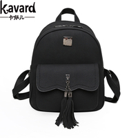 Kavard Women Backpacks 2017 Designer School Bag Backpack For Teenagers Girls Fashion Tassel Soft PU Leather