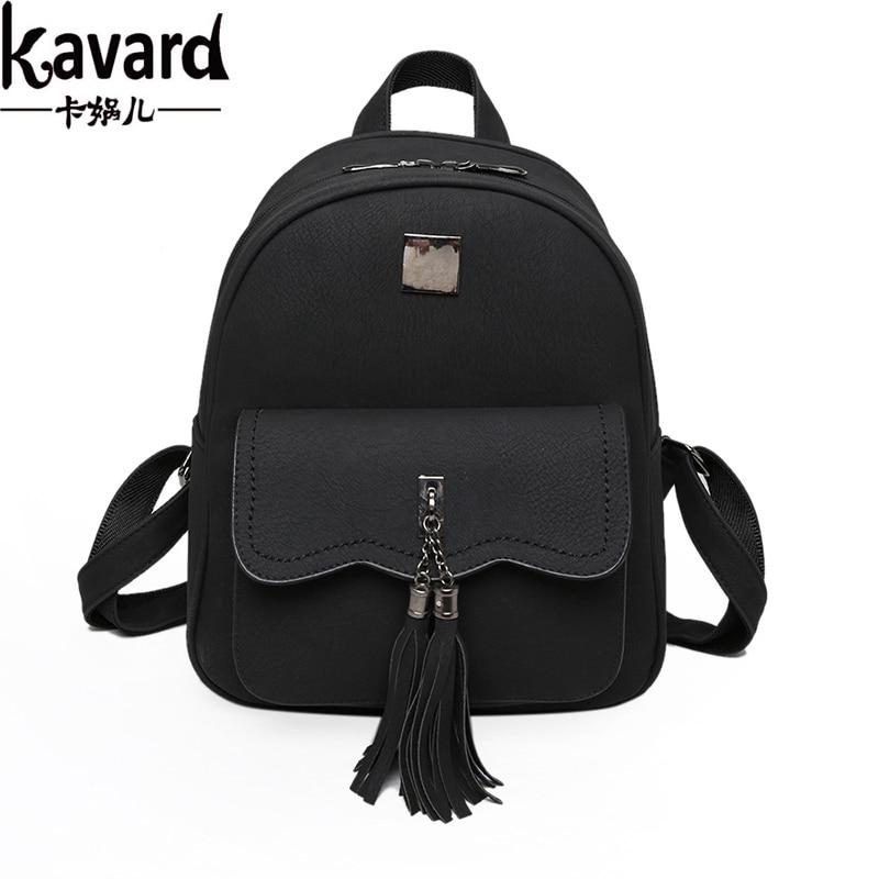 Kavard Women Backpacks 2017 Designer School Bag Backpack For Teenagers Girls Fashion Tassel Soft PU Leather High Quality bagpack