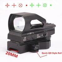 4 Reticle Kırmızı ve Yeşil Nokta Işıklı Sight Refleks Lazer Dokunmatik sesi Kapsam Picatinny Weaver 20mm QD Hızlı yayın Ray Dağı
