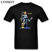 Cool New Year Rossi Robot Fashion T Shirt Man Black Tops VR 46 Racer Custom Teeshirt