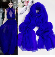 100 Pure Natural Real Silk Hot Sale Shawl Solid Shiny Blue Ladies Jewellery Scarves Spring In