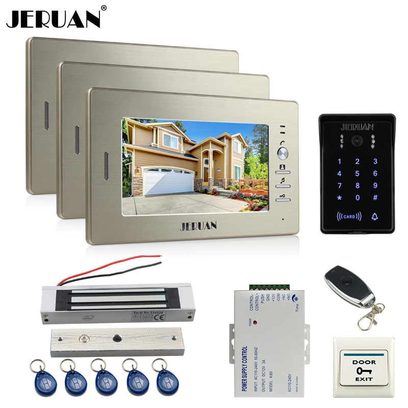 JERUAN New 7`` LCD video doorphone intercom system 3 monitor RFID waterproof Touch Key password keypad camera+remote control jeruan wired 7 touch key video doorphone intercom system kit waterproof touch key password keypad camera 180kg magnetic lock