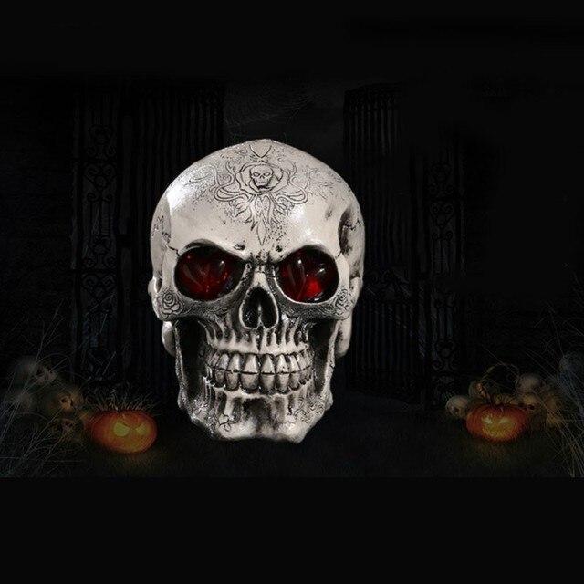 LED Homosapiens Skull Statue Figurine Human Shaped Skeleton Head Demonic Halloween Party Decor