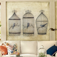 Bird cage wall three dimensional wall decoration retro wrought iron living room entrance European cafe wall decoration