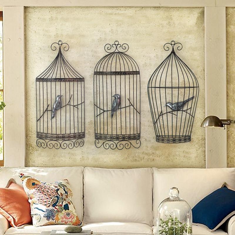 €90.78  Cage à oiseaux mur en trois dimensions décoration murale rétro en  fer forgé salon entrée café européen décoration murale-in Figurines et ...