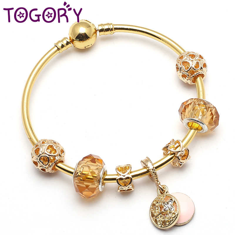 fd73f351c TOGORY Fashion Gold Color Charm Bracelet & Bangle with Butterfly Pendant &  Gold Crystal Ball Beads