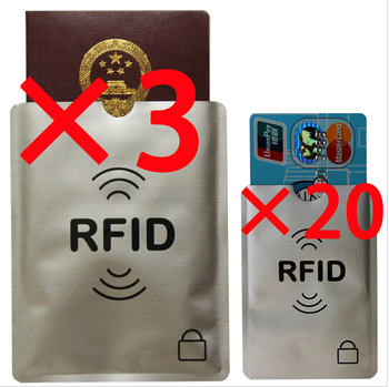 20+3pcs Anti Theft RFID Credit Card Protector RFID Blocking Sleeve Aluminum Shield Extra 3pcs Passport RFID Sleeve Blocking цена 2017