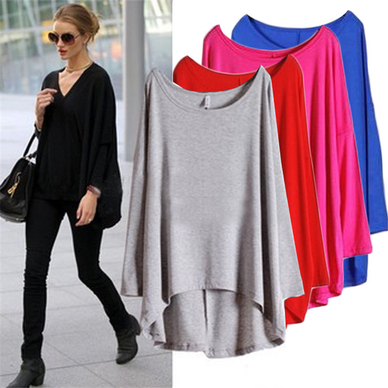 87f0edce 2017 New Autumn Batwing long Sleeve Women T Shirts Casual Loose Ladies Tops  Round Neck Womens Tees Fashion tshirt Female clothes