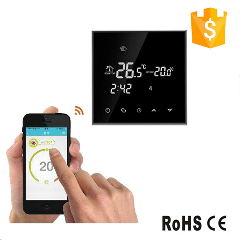 WiFi Touch Screen Room Thermostat For Electric Underfloor Heating Infrared Heater 16A Remote Control Temperature by