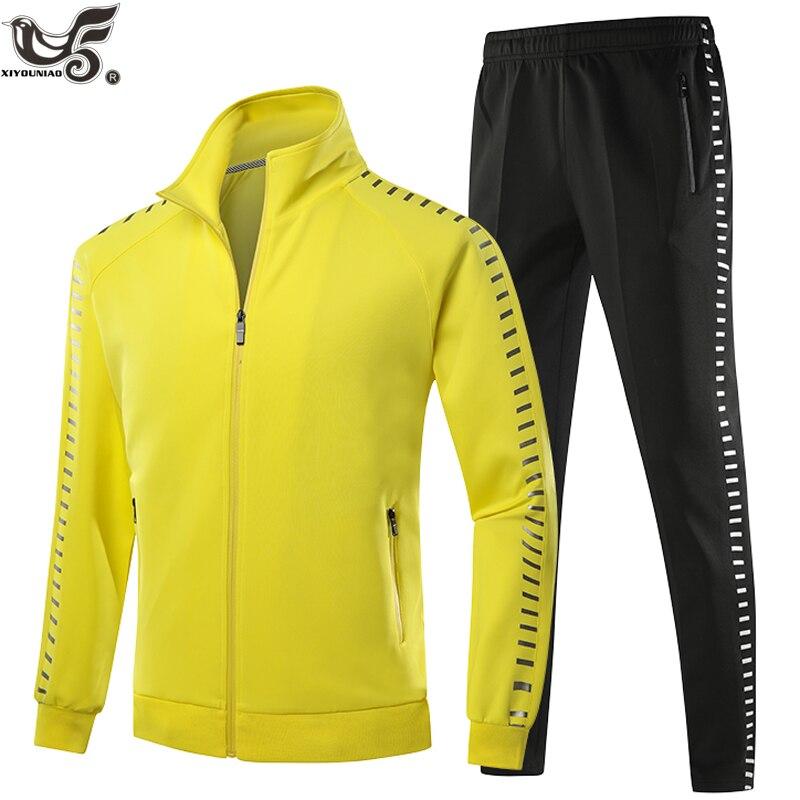 Спортивный костюм для мужчин, комплект из 2 предметов, модная светоотражающая полоска с принтом, мужская толстовка с капюшоном + штаны, спорт...