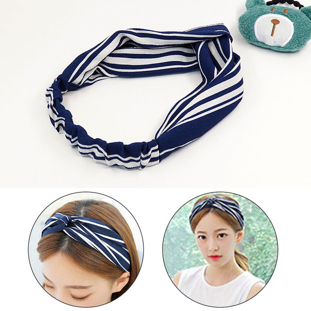 Plaid frutas Bohemia dot turbante elástico Hairband Head WRAP ...
