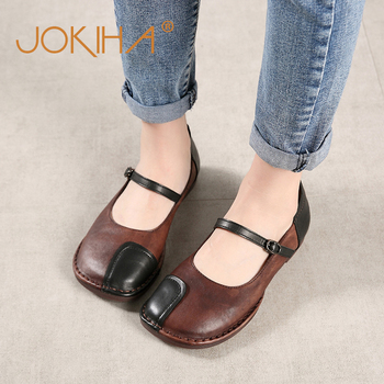 2019 Mori Girl Women's Flats Shoes Genuine Leather Retro Mary Janes Sweet Loafers Shoes Woman Ballet Flats Shoes Ladies 40