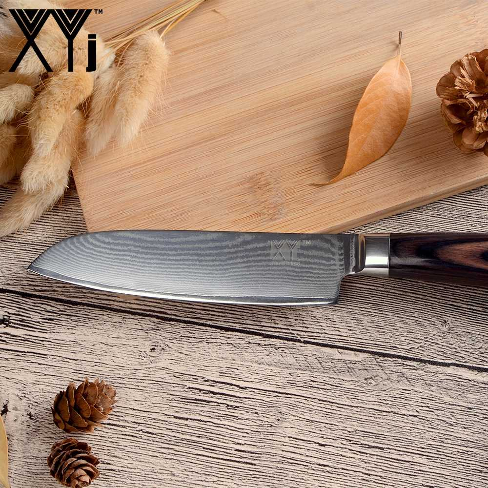 XYj 5 inch Kitchen Knife New Arrival 2018 Japanese Damascus Steel Blade Santoku Knife VG10 Core Kitchen Cooking Accessories Tool