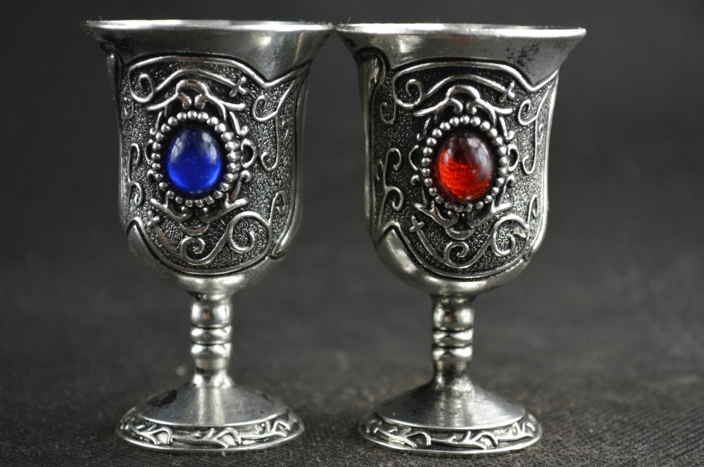 Old Decoration Handwork Tibet Silver Carved Flower Inlay Bead Pair Goblet / Cup
