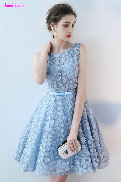 Elegant Sky Blue Prom dress short 2018 Sexy Scoop Lace a line Knee-Length  Cocktail party dress Lace-Up Prom Gowns Real Photos 9c500cd44