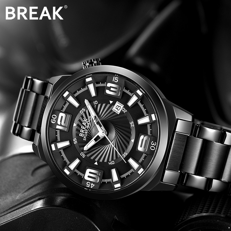 BREAK Mannen Top Luxe merk roestvrij staal Band Fashion Casual analoge quartz sport horloges kalender jurk cadeau horloges