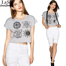 Summer style crop top 2015 women's T-shirt Grey Street boxy wide camisetas y tops pattern printing large size sexy tops 53