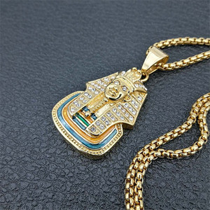 Image 4 - Ai Cập Pharaon TượNg Nhân Sư Mặt Dây Chuyền Đồng Hồ Châu Và Đá Ra Bling Ren Cổ Hip Hop Ai Cập Trang Sức