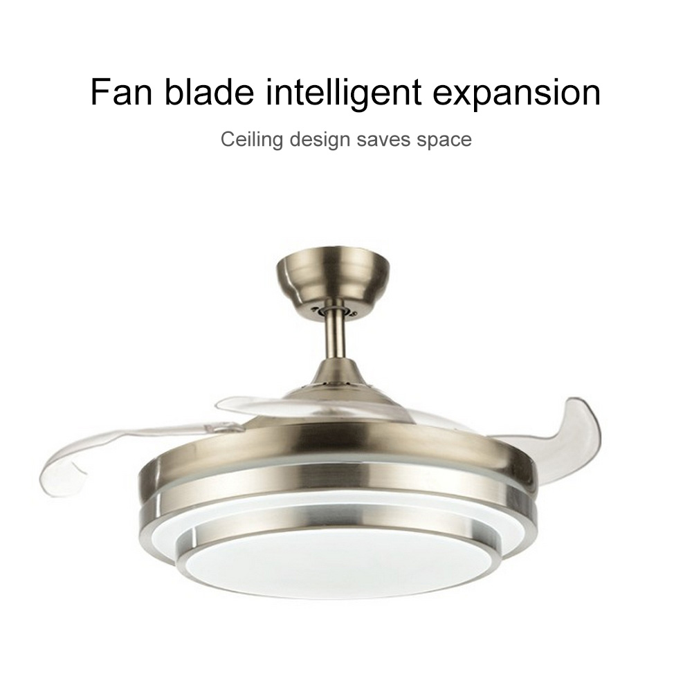 Competent 220v/110v 52 Inch Silver/golden Modern Ceiling Fan Remote Control With Lights Invisiable Leaf Led Folding Ceiling Fan By Scientific Process Ceiling Lights & Fans