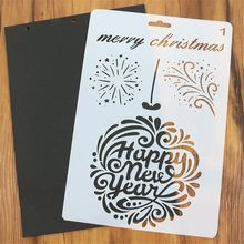 1pc happy new year christmas theme painting template bullet journal stencil set scrapbooking diy cards office