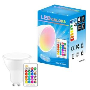 Image 5 - Dimmable RGB 220V LED הנורה 110V GU10 8W Lampada Led מנורת RGB זרקור GU 10 Bombillas Led אור עם שלט רחוק 16 צבעים