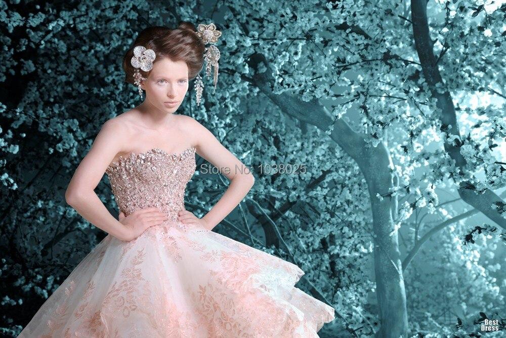 Pink Garden Ball Gown Wedding Dresses Michael Cinco 2014 Strapless ...