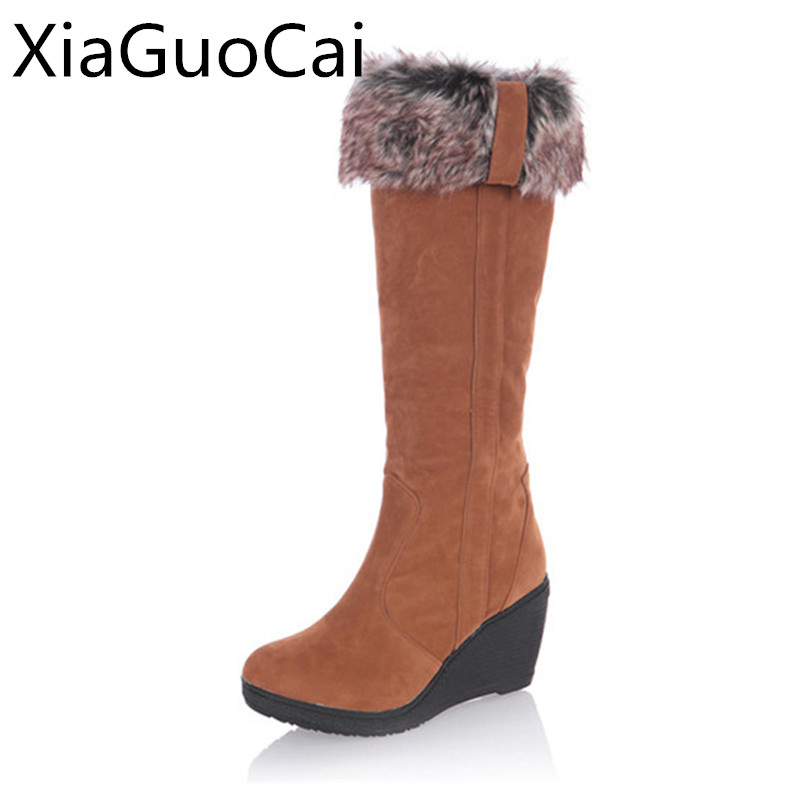 Высокие сапоги на танкетке Для женщин теплые черные 3 способа носить Замшевые женские сапоги до колена лиса Мех животных модные зимние ботинки x682