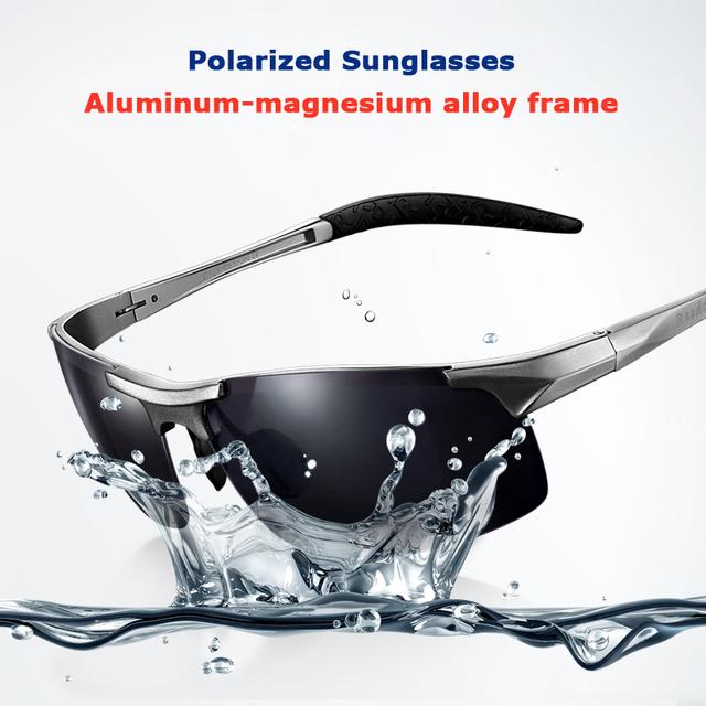 Marco de aluminio y magnesio Polarizadas Polaroid Conducción Gafa de Pesca Negro Masculino Gafas de Sol de Conducción de Coches