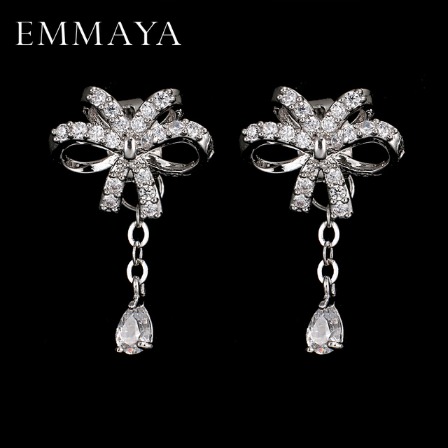 Emmaya Top Quality Bowknot Aaa Cz Earrings White Gold Color Fashion Jewelry For Party