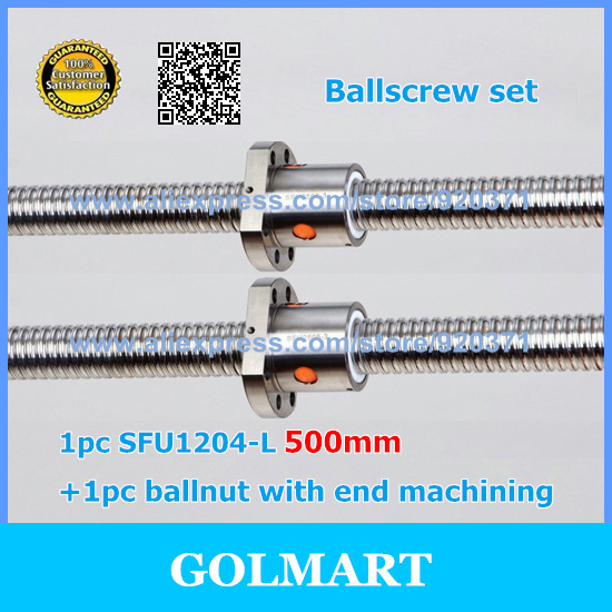 RM1204 Ball Screw L500mm Ballscrew With SFU1204 Single Ball nut For CNC Processing length can be customized