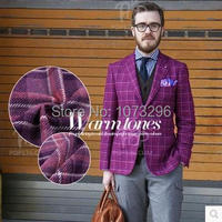 Autumn Winter Limited Grid Series Rare Purple Color Plaid Carded Wool Fabric Using For Clothing