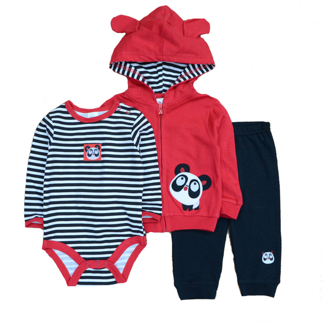 2019 3PCS/Lot Suits Coat Bodysuit Pants Cotton Long Sleeve Winter Newborn Baby Girls Clothes Baby Boy Clothes Set