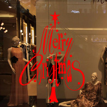 M-49 Merry Christmas & Happy New Year Wall Window Stickers Decals XMAS Holiday Decoration xmas Tree Decals Free Shipping