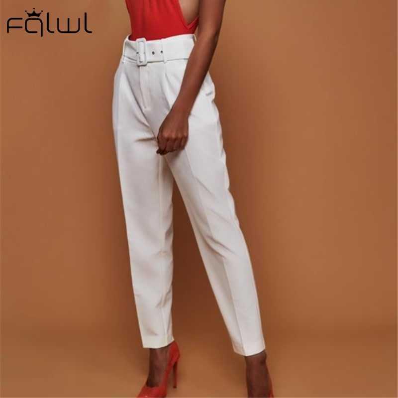 FQLWL オフィスレディースサマー女性ズボン 2019 綿サッシセクシーなボディコンパンツ女性カジュアルレディーパンツ