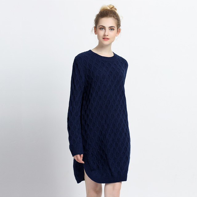 d4cb74a7434 Dark blue long sleeve O neck cable knit midi dress for women loose oversize  side slit knitted dress ladies winter tunic dresses